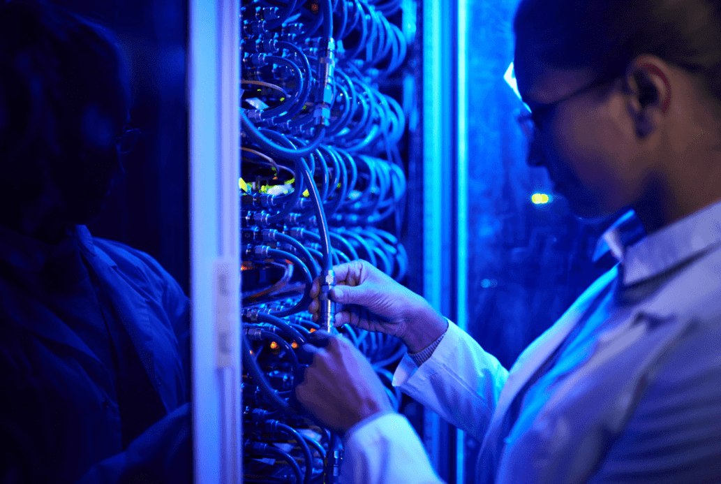 woman-working-on-server